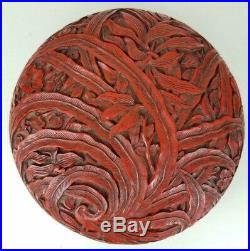 Ext Fine Deeply Carved Antique Chinese Cinnabar Peony Box Poss Ming Qing Dynasty