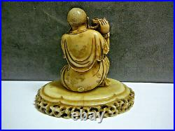 Extra fine small Chinese soapstone carving of lohan & tiger w inscriptions 20thC