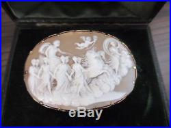 FINELY CARVED LARGE CAMEO BROOCH CASED ANTIQUE VICTORIAN 14ct GOLD