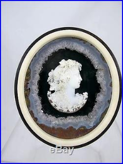FINE 19th CENTURY CARVED CAMEO PORTRAIT IN EBONY FRAME C1960'S