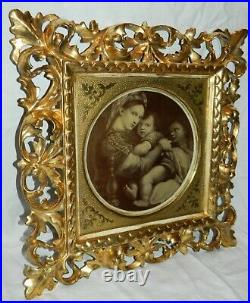 FINE 19th Century ROCOCO Carved Gilt ITALIAN Antique Wooden Frame OLD Glass #2