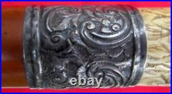 FINE ANTIQUE 1800's FOLK ART 3-D HAND CARVED EAGLE & SNAKE SILVER MOUNTED QUIRT