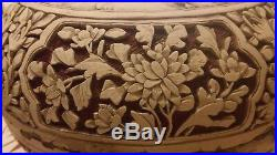 FINE ANTIQUE CHINESE HD/CARVED RED/WHITE CINNABAR LACQUER PRESENTATION BOX 8x5