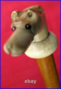 FINE ANTIQUE COMBINATION CARVED STAG DOG HEAD WHISTLE & HUNTING QUIRT c1920s-30s