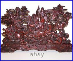FINE ANTIQUE JAPANESE CARVING Of The IMMORTALS Large Sized WOODEN PLAQUE