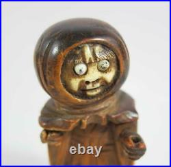 FINE ANTIQUE JAPANESE HAND CARVED NUT KOBE TOY Monk figure with Pop Out Eyes