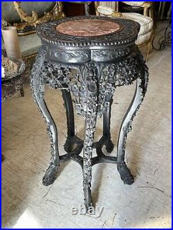 FINE ASIAN ANTIQUE CHINESE CARVED Lotus Dragon ROSEWOOD PINK MARBLE TABLE STAND