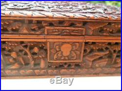 FINE Antique Chinese Sandal Wood Canton Carved Lidded Wooden Box