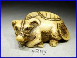 FINE Antler Carved Ox NETSUKE 18-19thC Japanese Original Antique Edo INRO