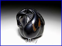 FINE Carving Eggplants Ebony NETSUKE Japanese Original Edo Inro Antique