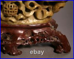 FINE Chinese Antique Carved Soapstone Incense Vessel On A Carved Soapstone Stand
