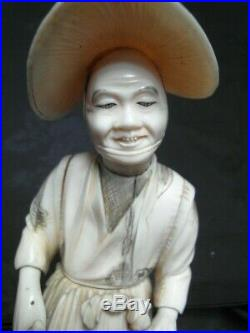 FINE JAPANESE OKIMONO 19th CENTURY CARVED BOVINE OXEN BONE FIGURE SIGNED