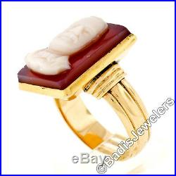 FINE Men's Antique Large Solid 14K Yellow Gold Carved Agate Cameo Ring Size 10.5