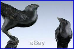 FINE OLD CHINESE CARVED JADE HARDSTONE DOUBLE BIRDS FIGURAL STUDY STATUE w STAND