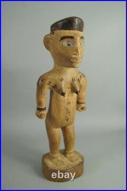 FINE OLD VILI D. R. CONGO CARVED WOOD AFRICAN TRIBAL FEMALE FIGURE With GLASS EYES
