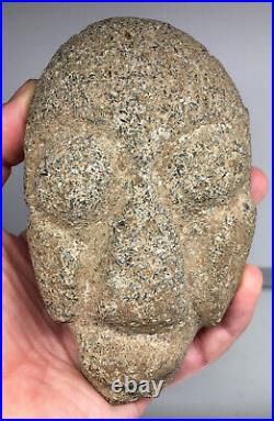 FINE Pre-Columbian Stone Skull Head Pestle Grinder Accouterment Carved Deep