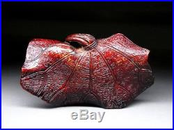FINE Wooden Carved Crab NETSUKE Japanese Meiji period Antique for INRO f473