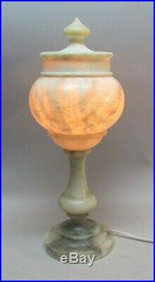 Fine 16 Antique ITALIAN CARVED ALABASTER Lamp in Exc Cond. C. 1925
