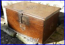 Fine 17th Century Carved Oak Box With Original Ironwork Hinges Lock And Hasp