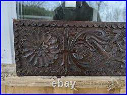 Fine 17th Century Charles I Carved Oak Panel Switch Serpent And Flowers