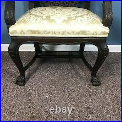 Fine 1800's Victorian Carved Walnut Throne Arm Chair
