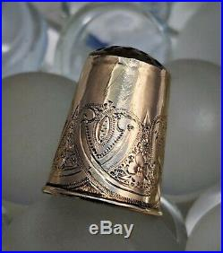 Fine 1873 Antique Full Hallmark Swedish 18k Gold & Carved Crystal Sewing Thimble