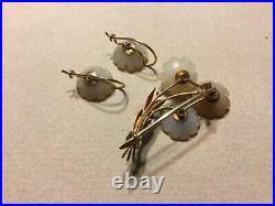 Fine 1890s Fine 14k Gold Floral Bloom Carved Jade Earrings & Brooch Pin Set