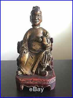 Fine 18th / 19th C Chinese Carved Gilt Wood Scholar Court Art Figure Statue NR