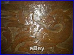 Fine 18th Century Welsh Carved Oak Dragon Panel