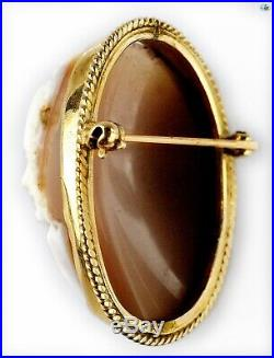 Fine 1920s Antique Victorian 14K Yellow Gold Hand Carved Cameo Shell Brooch Pin