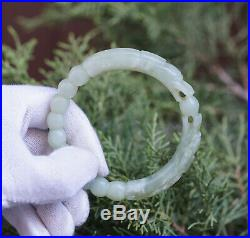 Fine 19c. Antique Chinese Carved Twin Dragon Celadon Jade Bangle Bracelet 53gr