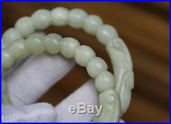 Fine 19c. Antique Pair Chinese Carved Twin Dragon Celadon Jade Bangles Bracelets