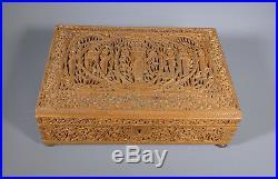 Fine 19th C. Anglo Indian Carved Sandal Wood Sandalwood Box Casket Mysore
