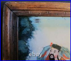 Fine 19th C. CHINESE Reverse Painting on Glass with Carved Frame c. 1890 antique