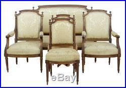 Fine 19th Century Carved Walnut French 5 Piece Salon Suite