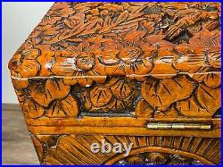Fine 20th Century Chinese Camphor Wood Carved Birds & Flowers Chest Coffee Table