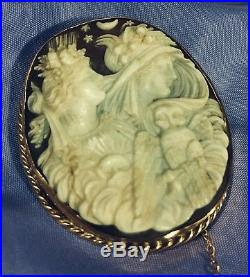 Fine ANTIQUE CARVED CAMEO BROOCH Goddesses Of Eos And Nyx. Morphea