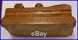Fine And Rare 19th Cen. Scottish Bobby Burns Carved Table Snuff, Tobacco Box