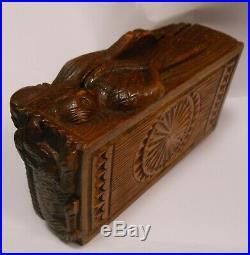 Fine And Rare 19th Cen. Scottish Folk Legend Carved Table Snuff, Tobacco Box