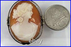 Fine Antique 14K White Gold Carved Shell Cameo Lovely Lady Brooch Pin Pendant G