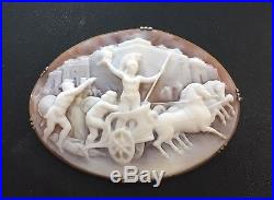 Fine Antique 14Kt and Shell Carved Romanesque Cameo Pin / Brooch