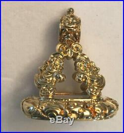 Fine Antique 14k yg White Quartz Cabochon Carved Watch Fob Pendant Charm