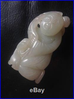 Fine Antique 18th Century Chinese celadon white jade carving man & dog figurine