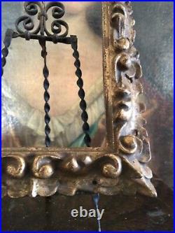 Fine Antique 19 Th C. Hand Carved Pierced Highly Patinated Gilt Florentine Frame