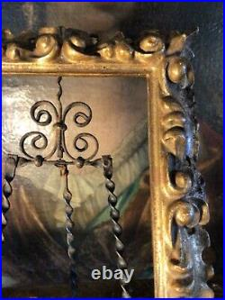 Fine Antique 19 Th C. Hand Carved Pierced Highly Patinated Gilt Florentine Frame