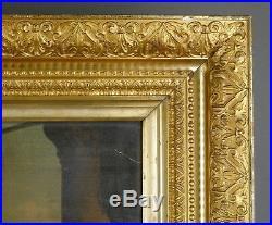 Fine Antique 19th C European GOLD GILT FRAME Carved Flor-de-Lis Motif Large
