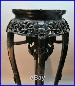 Fine Antique 36 CHINESE HAND-CARVED WOOD Pedestal c. 1930 Table Stand