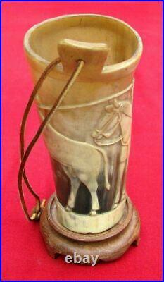 Fine Antique 3d Hand Carved Folk Art Cowboy Saddle Horn Cup Object D` Art
