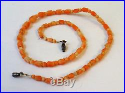 Fine Antique Angel Skin Coral Necklace Flower Carved Beads Sterling Silver Clasp