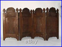 Fine Antique Anglo Indian Burmese Carved Padouk Wood Folding Screen Mughal Int